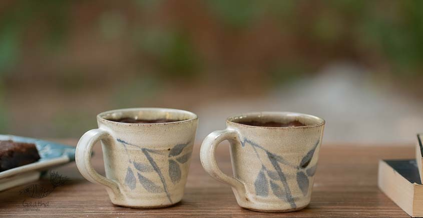 White and Blue Cups - Set of 2
