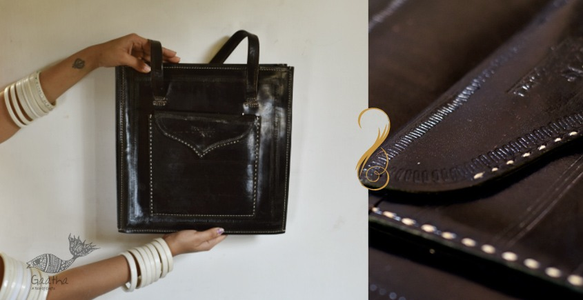 The nomad within me ♠ Kutchi Leather Bags - Black tote ♠ 7