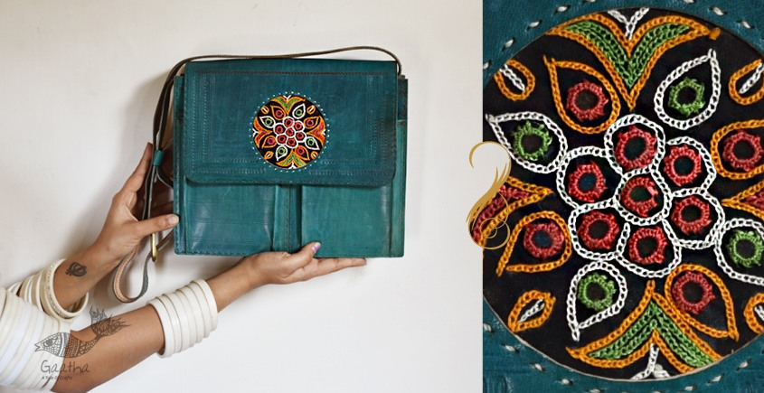 The nomad within me ♠ Kutchi Leather Bags - Teal Embroidered sling ♠ 6