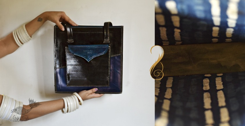 The nomad within me ♠ Kutchi Leather Bags - Blue Black tote ♠ 8