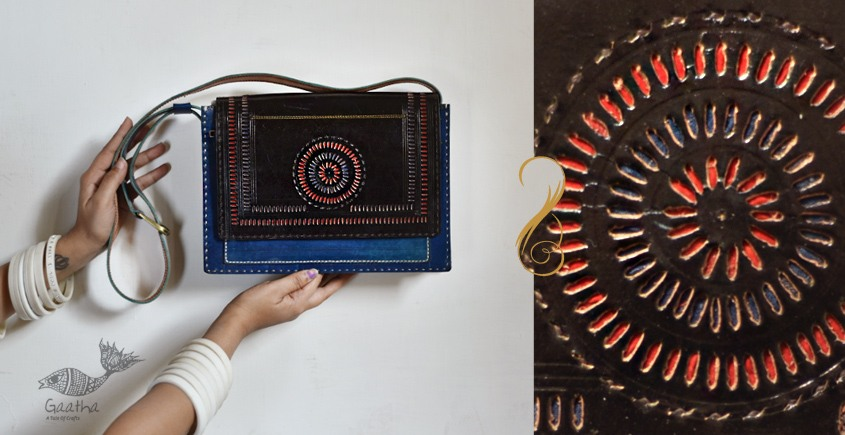 The nomad within me ♠ Kutchi Leather Bags - Blue black punch work sling ♠ 11