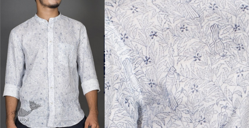 Neem koyal Indigo ● Linen Block Printed Shirt ● 1