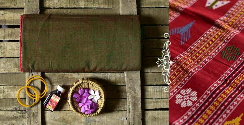 Shop handloom thalapathara cotton saree with red pallu and green base with blouse