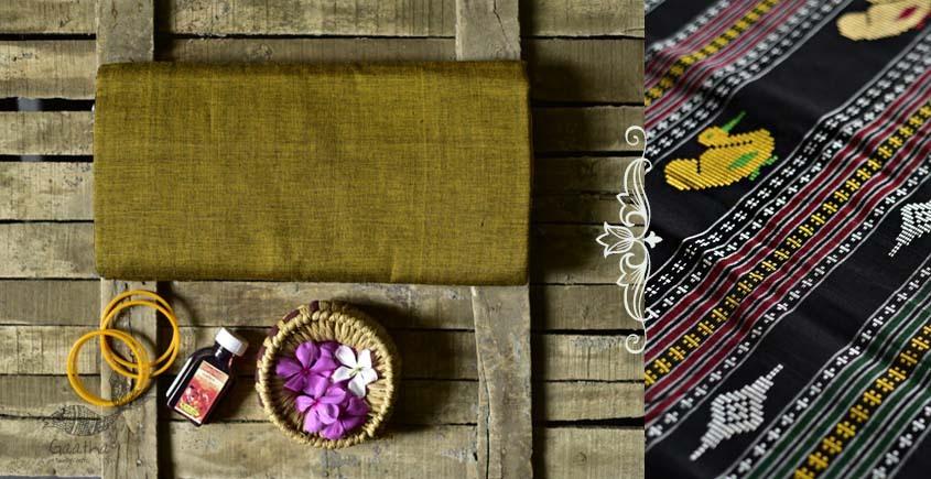 Shop handloom thalapathara mustard yellow cotton saree