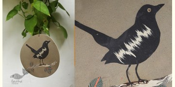 Handmade Ceramic Hanging - Oriental Magpie Robin Bird - 2