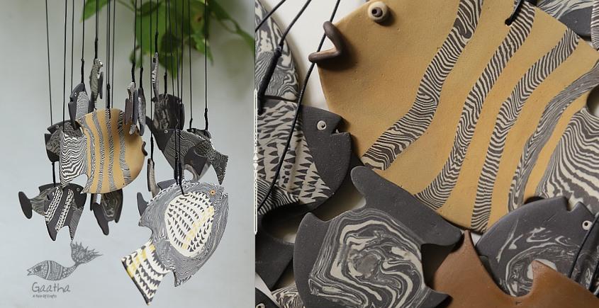 Ceramic Chimes - Large Black Handmade