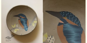 "Handmade Ceramic Wall Plate ( 8"" x 8 "" ) - Kingfisher Bird - 16"