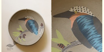 "Handmade Ceramic Wall Plate ( 8"" x 8 "" ) - Kingfisher Bird - 17"