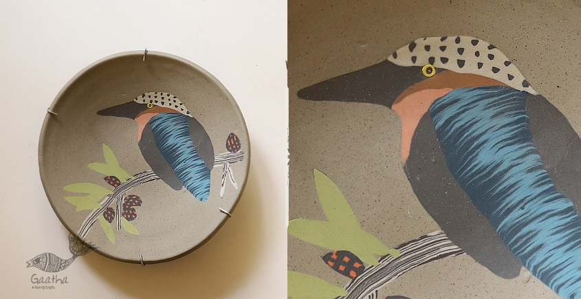 Handmade Ceramic Wall Plate ( 8 x 8  ) - Kingfisher Bird - 17