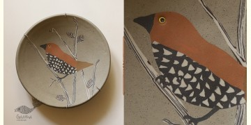 "Handmade Ceramic Wall Plate ( 8"" x 8 "" ) - Munia Bird - 19"