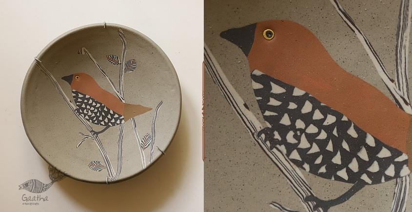 Handmade Ceramic Wall Plate - Munia Bird - for Wall decorative Plate