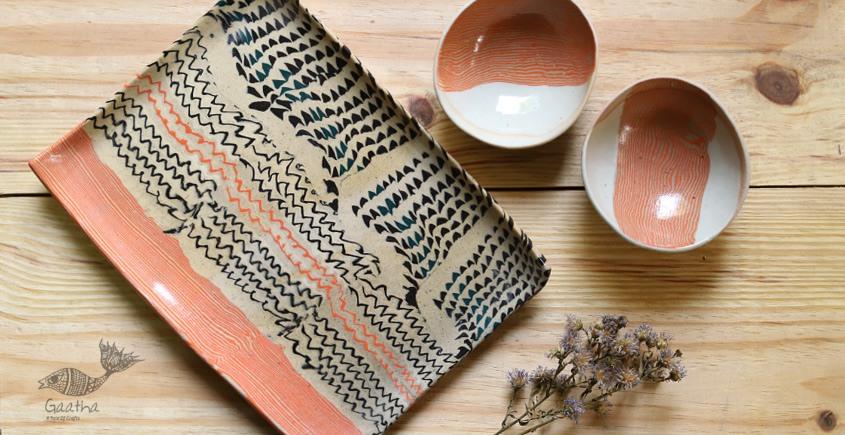 Ochre   Ceramic nerikomi Plate with Bowl - Chip & Dip (Set of Three) - 5