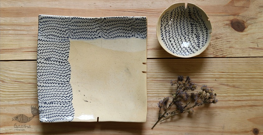 amazing nerikomi ceramic plate with bowl