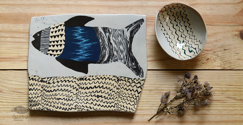 Ochre | Ceramic Fish Plate with Bowl (Set of Two) - 7