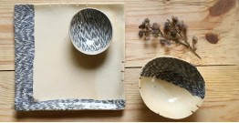 Ochre | Ceramic nerikomi Plate with Bowl - Chip & Dip (Set of Three) - 8
