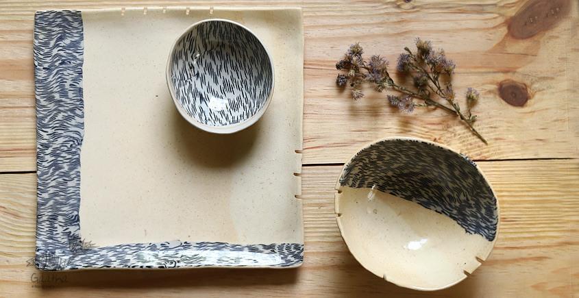 Ochre | Ceramic nerikomi Plate with Bowl - Chip & Dip (Set of Three) - 8