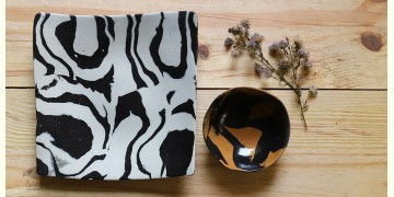 Ochre | Ceramic Plate with Bowl - Marbling Chip & Dip (Set of Two) - 9