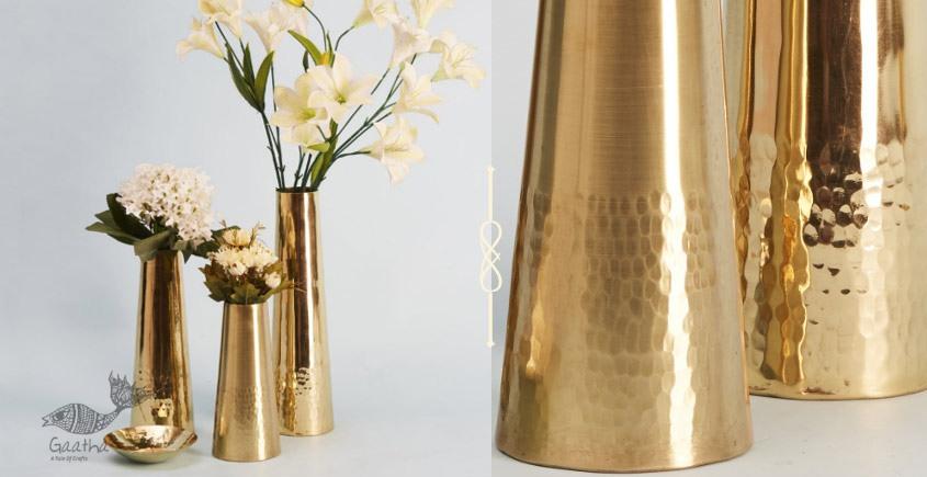 Virasat ❋  Brass . Frustum Vase (Small - 3 x 3 x 9) ❋ 4