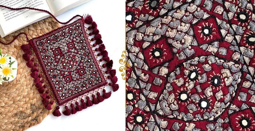 handmade Rabari Embroidered Fringe Mobile Bag 6