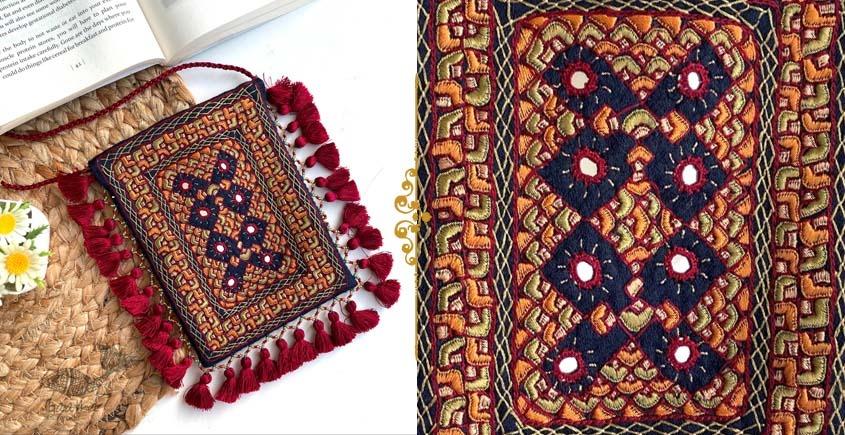 handmade Rabari Embroidered Fringe Mobile Bag 8