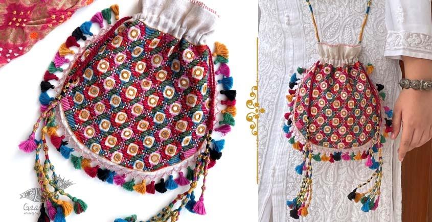 handmade Rabari Embroidered Navrang Potli Sling Bag 15