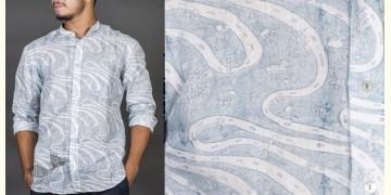 Patratu valley indigo ● Linen Block Printed Shirt ● 2