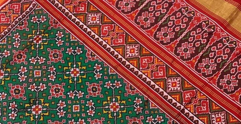 buy ikat gujarati patola sarees - festival special  - Green,Red