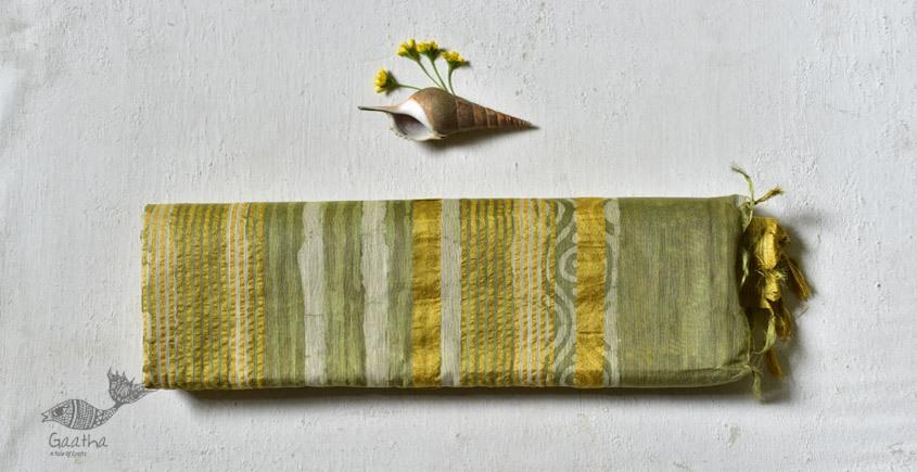 Pastel green Mulberry Silk Dabu Printed Saree