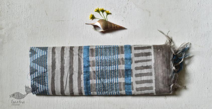 shop Mulberry Silk Dabu Printed grey Sari