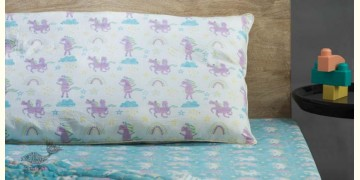 Rainboo ☁ Block Printed ☁ Dancing Unicorns Bedding Set- Blueberry - 9
