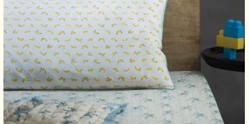 Rainboo ☁ Block Printed ☁ Monkeys on Bamboo Bedding Set- Blue Fog - 13