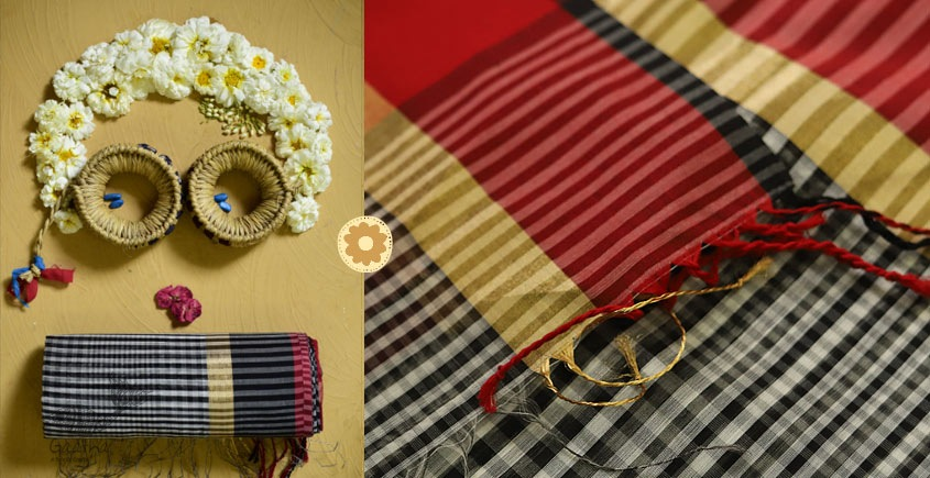 Iris ❢ Maheshwari Handloom  ❢ Cotton Checks Saree ❢ 5