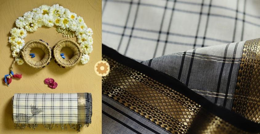 Light color Cotton Handloom Maheshwari checks Saree