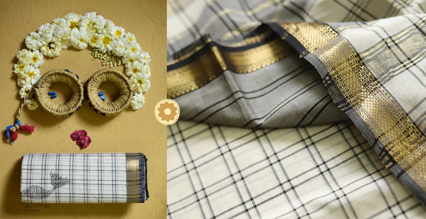 iris ❢ Maheshwari Handloom ❢ Cotton Checks Saree ❢ 3