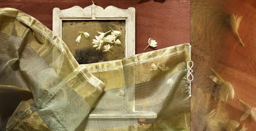 सुगंधिका ✻ Maheshwari ✻ Zari Border stole - Light Green ✻ C 5