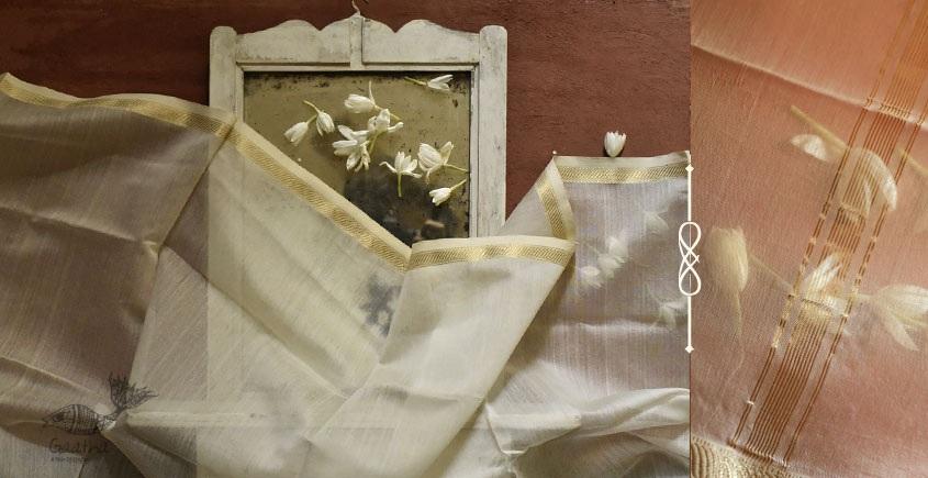 सुगंधिका ✻ Maheshwari ✻ Cotton Silk Stole - Off White ✻ E 10