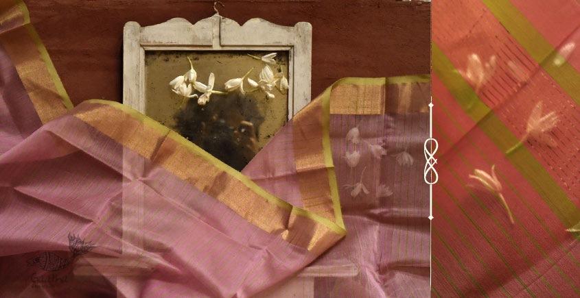 Silk & Cotton light pink Stole with zari green lines