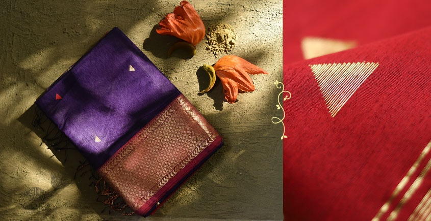 Ojovati ❢ Maheshwari ❢ Cotton Silk Saree with Zari Border ❢ 13