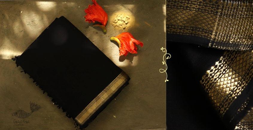 black color maheshwari saree with zari border