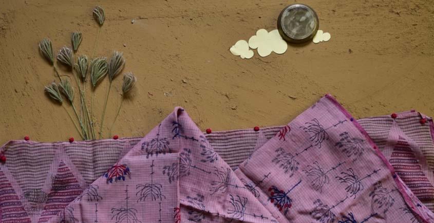 shop pink floral kota cotton embroidered dupatta