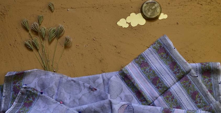 shop lavender block printed kota cotton embroidered dupatta