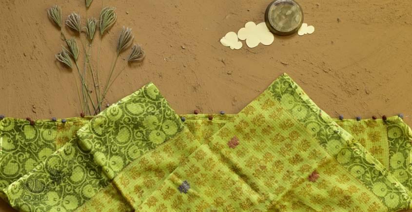 shop yellow block printed kota cotton embroidered dupatta