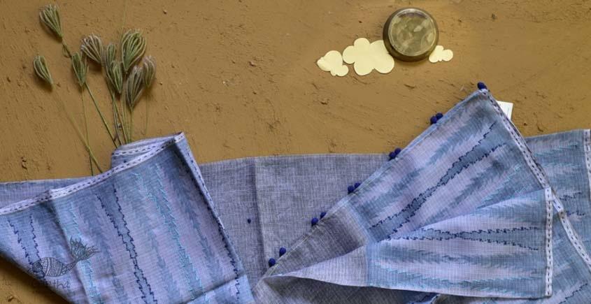 shop blue block printed kota cotton embroidered dupatta
