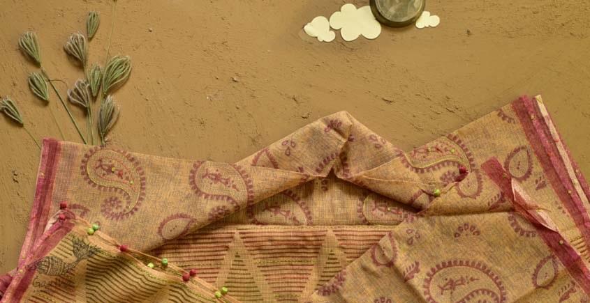 shop block printed kota cotton embroidered dupatta
