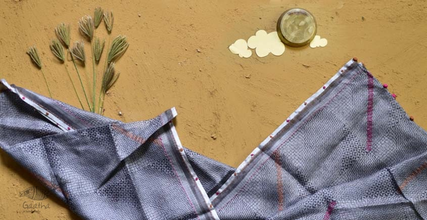 shop grey block printed kota silk embroidered Stole