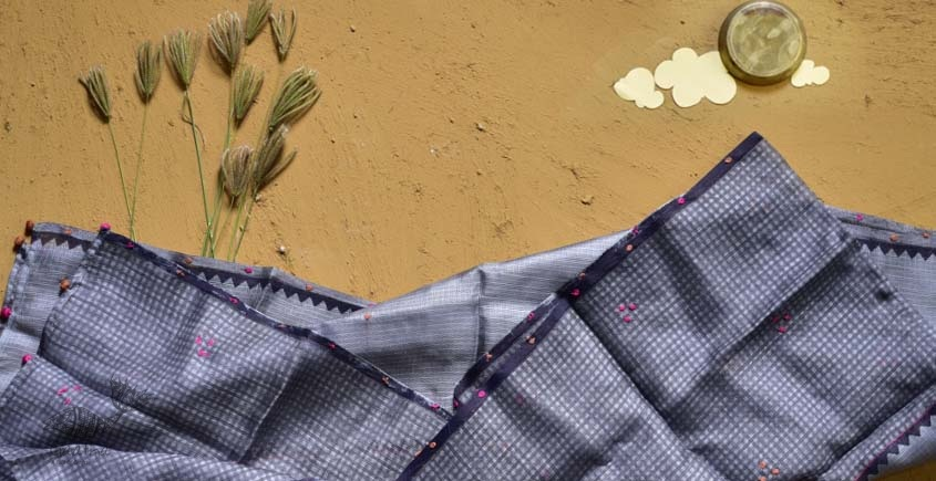 shop grey pink block printed kota silk embroidered Stole