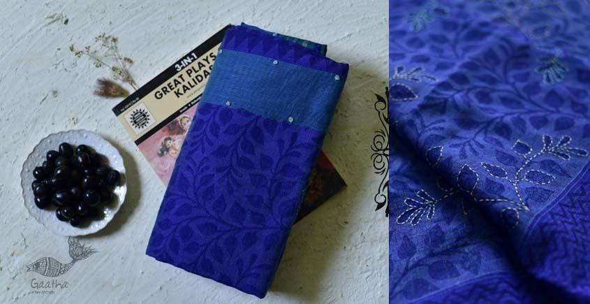 shop online Block Printed Embroidered Cotton Silk Saree