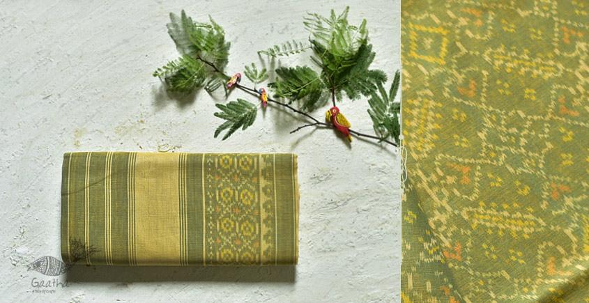 cotton handwoven patola lime green saree