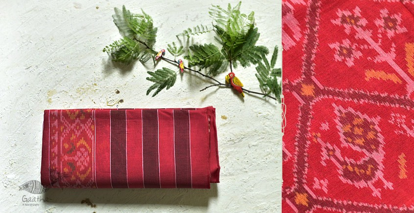 cotton handwoven patola tomato red saree