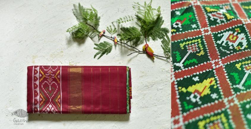 exclusive double ikat silk handwoven partola red & Green saree